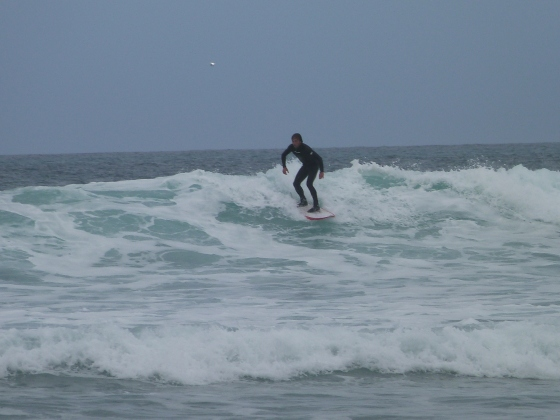 surfing on Watergate Bay